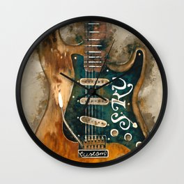 stevie ray vaughan's, electric guitar, gift for guitarists, guitar gift, blues music Wall Clock