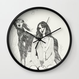 A Girl and Her Dog Wall Clock
