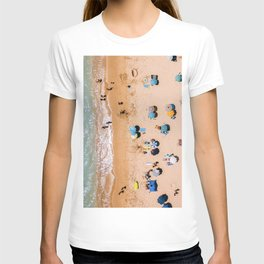 People On Algarve Beach In Portugal, Drone Photography, Aerial Photo, Ocean Wall Art Print T-Shirt