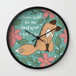 Let It Be Foxy Florals Wall Clock