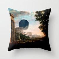 death star Throw Pillows featuring Death Star by DIVIDUS