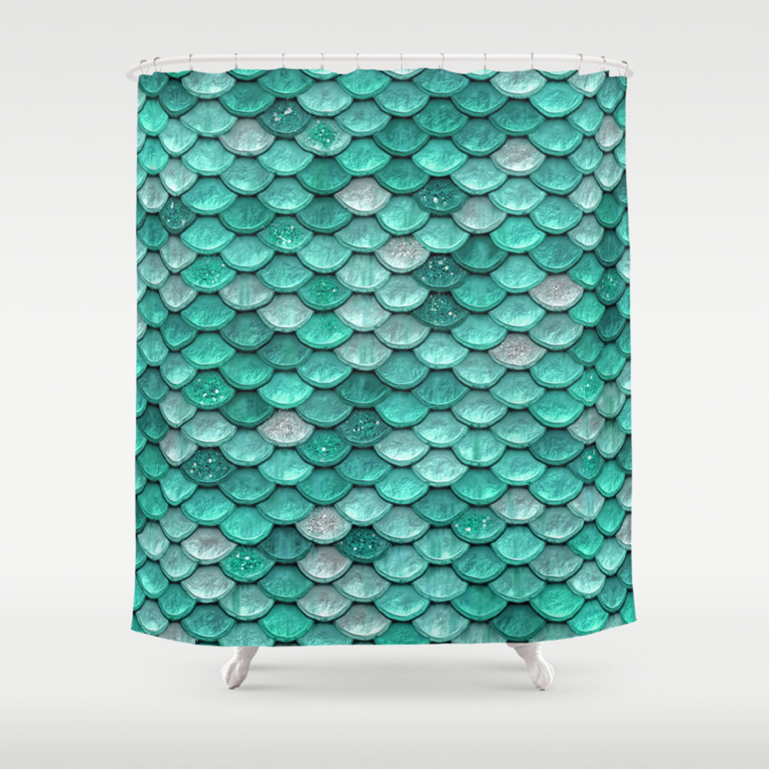 Seafoam Shower Curtains Society - Mint green shower curtain