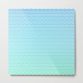 Aqua and White Ombre Shaded Wavy Chevron Stripe Metal Print