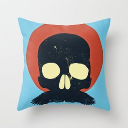 Skull With Stache Throw Pillow