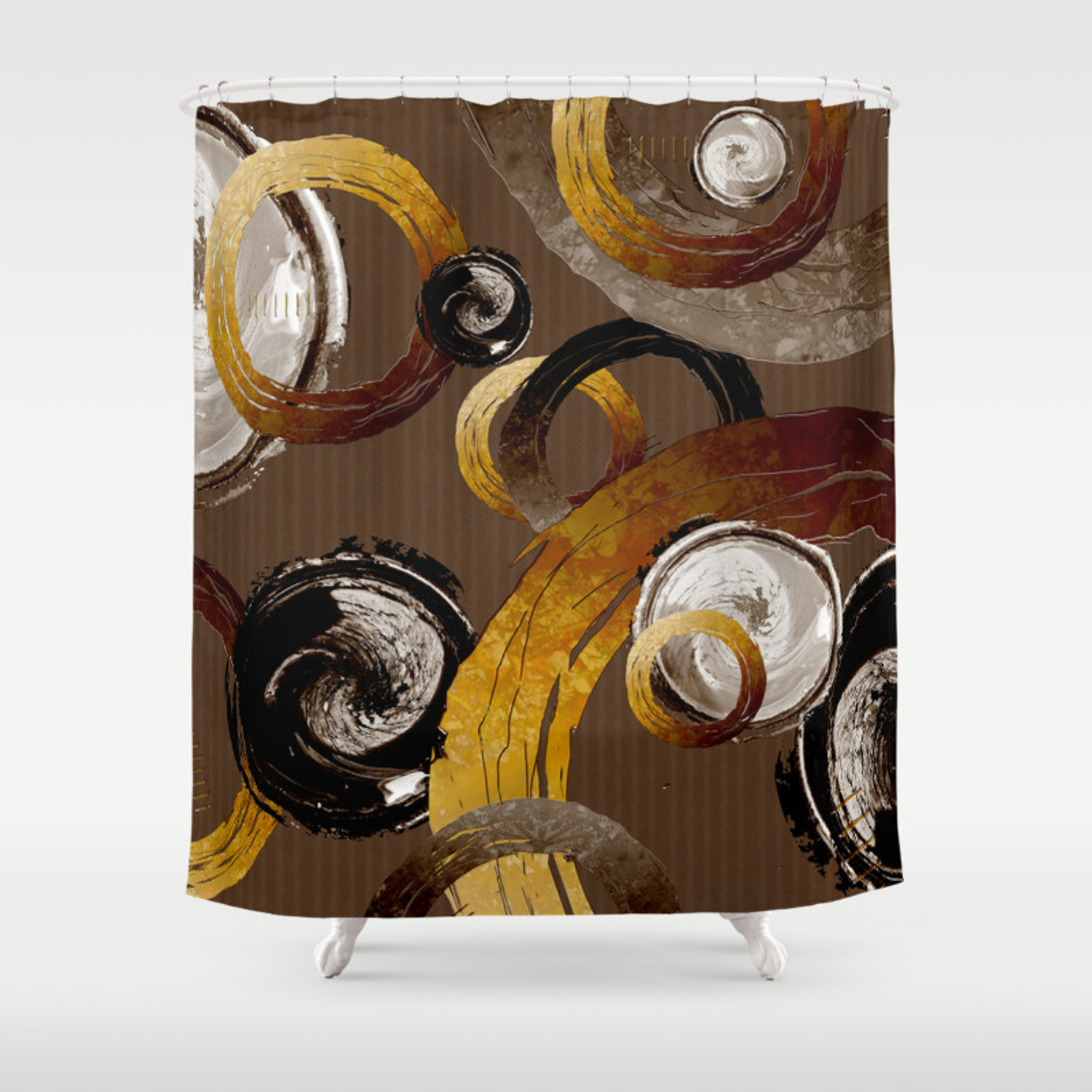 Big Dark Brass Yellow And Brown Rings And Circles Shower Curtain