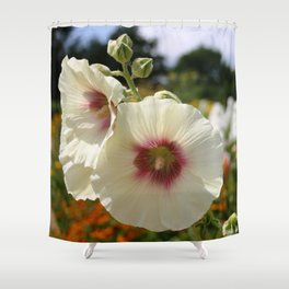 White and Red Hollyhock flower Shower Curtain