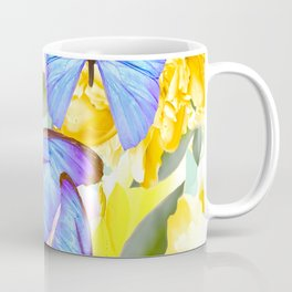 Bright Blue Butterflies Yellow Flowers #decor #society6 #buyart Coffee Mug