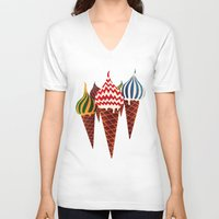 moscow V-neck T-shirts featuring Summer in Moscow by Yetiland