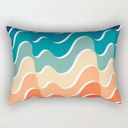 Retro 80s 70s Blue and Orange Mid-Century Minimalist Abstract Art Waves Rectangular Pillow