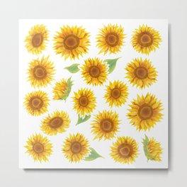 Sunflowers Everywhere - Yellow Metal Print