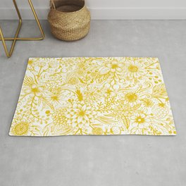 Yellow Floral Doodles Rug
