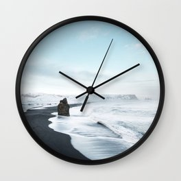 Black Beach in Iceland Wall Clock