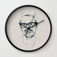 james franco Wall Clocks featuring Franco Blue  by Luis Patino