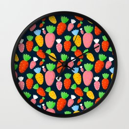 Carrots not only for bunnies - seamless pattern Wall Clock