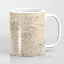 Vintage Pictorial Map of Oxford England (1850) Coffee Mug