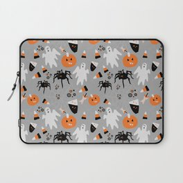 Spooky Halloween Spiders/Pumpkin/Ghosts/CandyCorn Laptop Sleeve