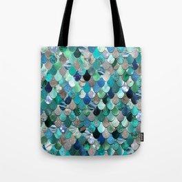 Mermaid Sea, Teal, Aqua, Silver, Grey Tote Bag