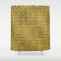 gold glitter Shower Curtains featuring Gold Glitter Stripes  by Zen and Chic