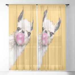 Bubble Gum Sneaky Llama in Yellow Sheer Curtain