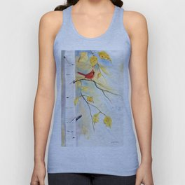 Cardinal on birch Tree Unisex Tank Top