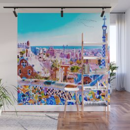 Park Guell Watercolor painting Wall Mural