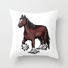Clydesdale horse Scotish Pony Present Cartoon Throw Pillow