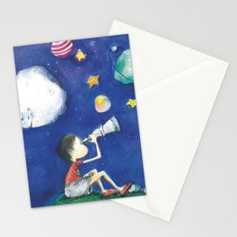 Stars and little planets Stationery Cards