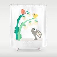 rabbit Shower Curtains featuring RABBIT by Mi Jardín Secreto