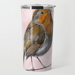 Robin Redbreast, Orange Bird Art Travel Mug