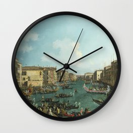 A Regatta on the Grand Canal by Canaletto Wall Clock