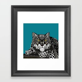 snow leopard teal Framed Art Print
