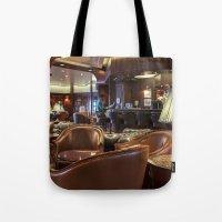 bar Tote Bags featuring Lounge Bar by Deborah Janke