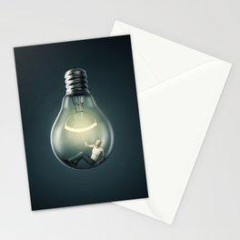 Birth of an Idea / 3D render of man inside light bulb Stationery Cards