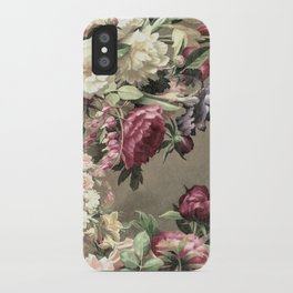 Vintage bouquet taupe burgundy iPhone Case
