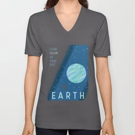 EARTH Space Tourism Travel Poster Unisex V-Neck