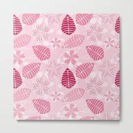 Pretty Pink Floral Leaf Pattern Metal Print