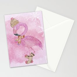 Winter Woodland Stranger- Cute Flamingo Bird Snowy Forest Illustration Stationery Cards