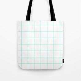Graph Paper (Turquoise & White Pattern) Tote Bag