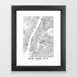 New York City White Map Framed Art Print