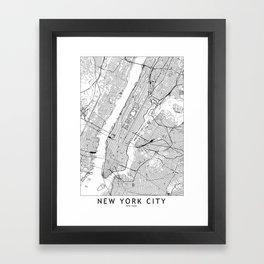 New York City White Map Framed Art Print