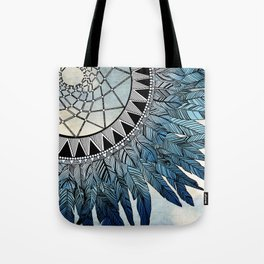 blue feather dreamcatcher Tote Bag