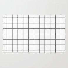 White Black Grid Minimalist Rug