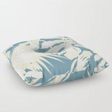 Palm Leaves Citrus on Deep Ocean Blue Floor Pillow