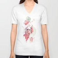 anna V-neck T-shirts featuring Sweet Party by Ariana Perez