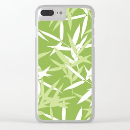 Green Bamboo Leaves Unique Pattern Clear iPhone Case