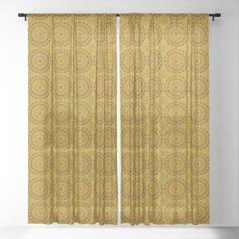 Golden Lace Mandala Pattern Sheer Curtain