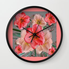 CORAL COLORED  PINK & CREAM DAYLILIES Wall Clock