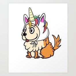Pomeranian Unicorn Hat Art Print
