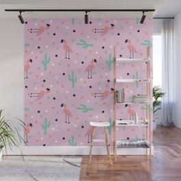 Flamingo and Cactus Wall Mural