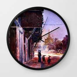 Watercolor painting of the Royal Palace at dawn in the Cambodian city of Phnom Penh- Wall Clock